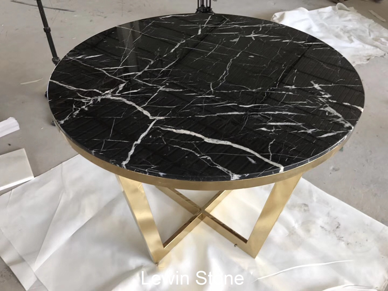 Nero Black Marquina Marble Round Table