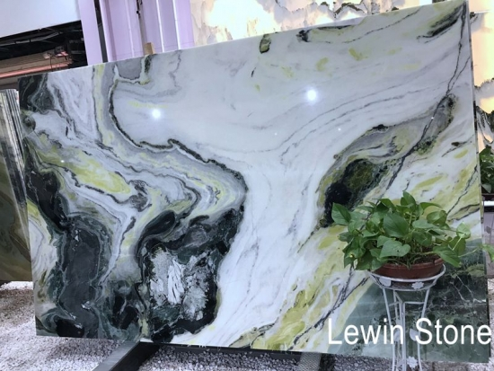 Green forest marble slab