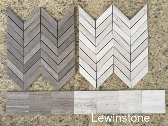 Marble Mosaics Tiles Wooden White